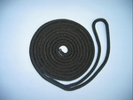 "1/2"" X 15' NYLON DOUBLE BRAID DOCK LINE - BLACK"